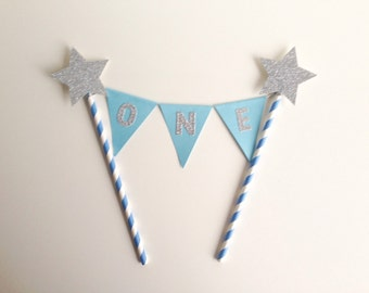 1st Birthday Bunting Cake Topper Blue and Silver