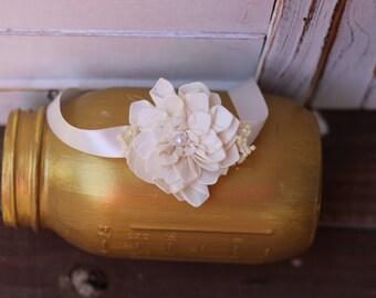 Ivory wrist corsage, Rustic Wedding, Country wedding, woodland wedding,