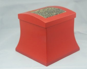Small Red Trinket Box with Scroll Top