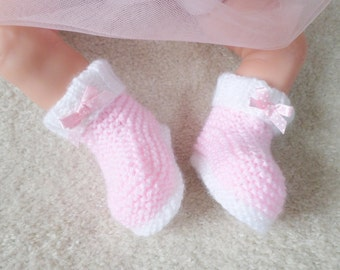 Hand knitted white and pink baby girl booties 0-3 months