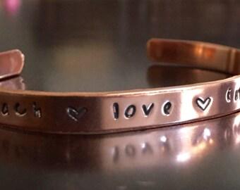 Teach Love Inspire Hand Stamped Custom Bracelet Cuff