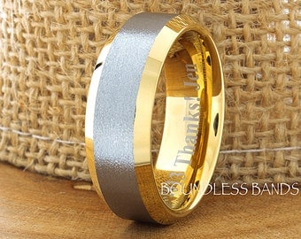 Tungsten Wedding Ring Yellow Gold Plated Brushed 8mm Beveled Edges Wedding Band Anniversary Ring Promise Ring Comfort Fit FREE Engraving
