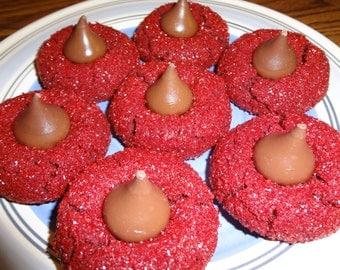 Glistening Homemade Red Velvet Peanut Butter Kiss Cookies (30 Cookies)