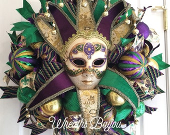 Mardi Gras Wreath Fat Tuesday New Orleans Carnival Wreath Mardi Gras Jester Wreath Home Decor Door Decor   **MADE TO ORDER**