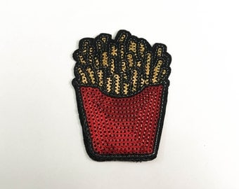 French Fries Sequin Iron on Patch (M) - Sequin French Fries, Glitter,Sparkly Applique Iron on Patch - Size 6.3x8.8 cm