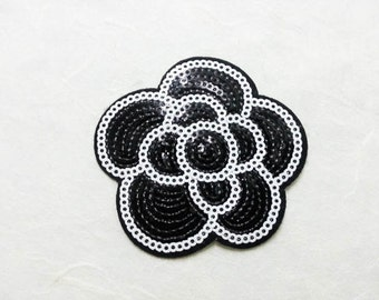 Black Flower Sequin Iron on Patch (M) - Sequin Black Flower, Glitter Applique Iron on Patch - Size 6.9x6.9 cm