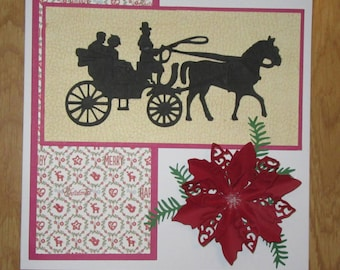 Handmade carriage and poinsettia card