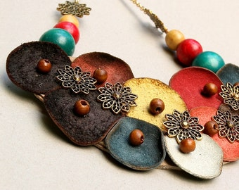 Hippie Necklace, Unique, Handmade, Leather