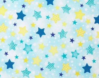 To The Moon & Back Yardage / Stars on Blue / 1/2 Yard and Fat Quarter cuts / Wilmington Prints 82459