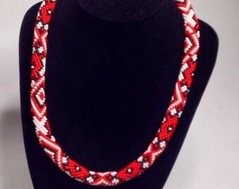Traditional Ukrainian jewelry. Ukrainian embroidery.Ukrainian folk bead necklace. Red Black White. Royal Blue.Ukrainian print crochet rope