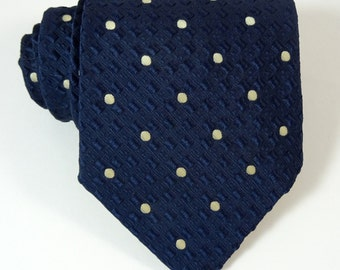 Vintage 1970s Wide Tie Polka Dot Necktie Textured D'Arcy Collection