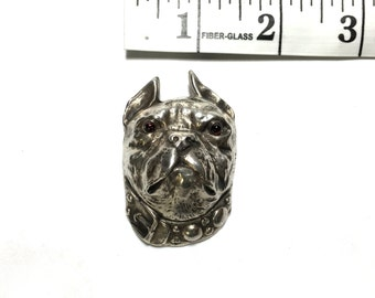 Vintage Intricately detailed Sterling Silver Bulldog Face Brooch