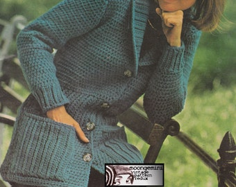 Crochet Sweater Shawl Collared Jacket Cardigan Pattern PDF Instant Download Sizes SML