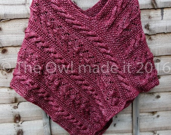 Hand knitted poncho,wool poncho,woman poncho,cable poncho,grandmother,grandma,girlfriend,wife gift,mommy gift,new mom gift,mommy to be