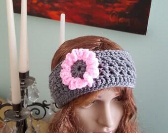 Crochet Ear Warmer Headband Woman Ear Warmer Winter Ear Warmer With Flower Grey and Pink Headband