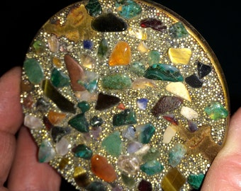 Antique Compact,Metal Compact,Mosaic Compact,Stone Compact,Vintage Compact,Boho Compact,Pocket Mirror,Natural Compact,Retro Compact