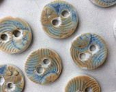 Unusual burnished blue honey sand circular 5/8-inch textured porcelain ceramic buttons