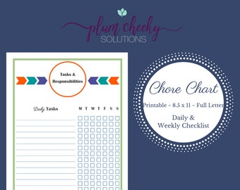 Boys Chore Chart Daily and Weekly Responsibility Checklist-Instant Download-Double Sided Chart