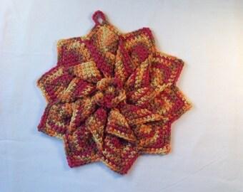 Crochet star potholders, crochet potholder, handmade hot pad, crochet trivet,  Crochet trivet