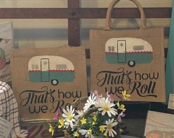 Camper's Burlap Tote Bag