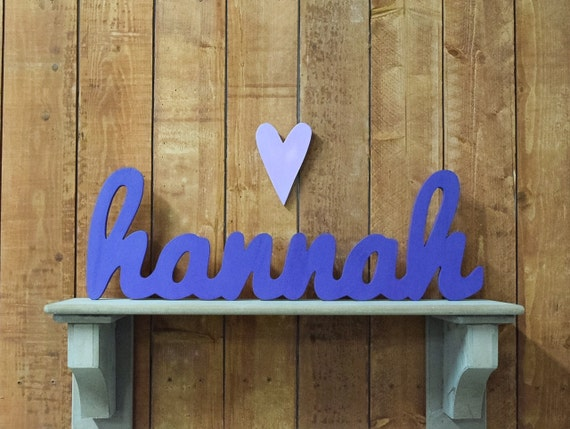 Hannah Wooden Baby Name Sign Nursery Wall Art By