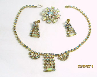 Demi Parure Aurora Borealis Crystal AB Necklace, brooch and earrings set.