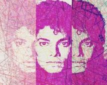 "Michael Jackson art print, Michael jackson poster, sewing pattern art, surreal pop art poster, mixed media collage art - ""King of pop art""."