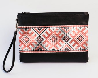 Leather Clutch, Large Wristlet Handbag, Wristlet Clutch, Embroidered Clutch, Ukrainian Embroidery, Vyshyvanka, Ethnic Style, Red Black White