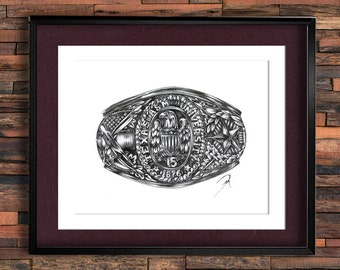 00-50 Texas A&M University Graduation Ring Drawing PRINT, Aggie Ring with Diamond Option, Texas Aggies