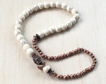 Buddhist Prayer Bracelet,Mala 27 Meditation,Tool Tibetan Jewelry,Antique Copper Buddha,Howlite Beads,Zen Mala Bracelet,Prayer Wrist 27 Mala