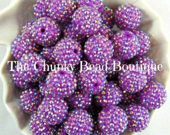 20mm purple AB rhinestone bead