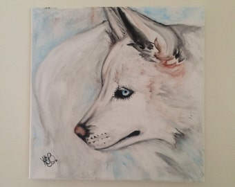 Original Wolf Watercolor 12x12 stretched canvas! Ready to hang!