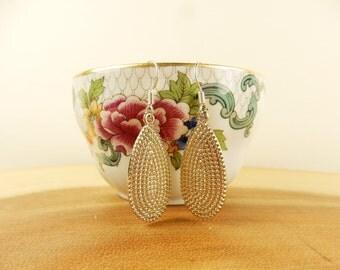 Gold Droplet Earrings, Drop Dangle Earrings, Textured Earrings, Vintage Style, Simple Jewellery