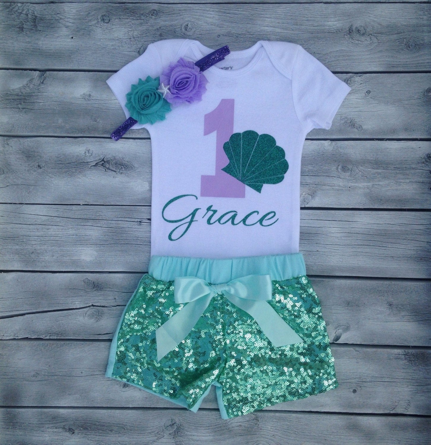 Mermaid First Birthday Outfit Mermaid 1st Birthday Onesie