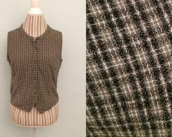 Vtg 90's grunge green plaid sleeveless top / small medium