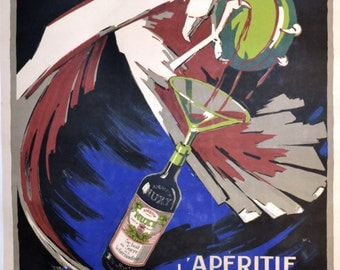 Vintage French ad Large French poster. L' Aperitif Nuxy ca. 1920 Georges Favre