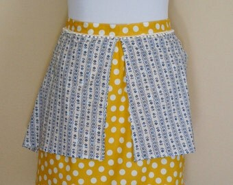 Women's Half Apron - Mustard and Country Blue