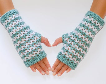 Crochet fingerless gloves, fingerless mittens, womens gloves, striped gloves, hand warmers, wrist warmers, winter gloves, knit gloves