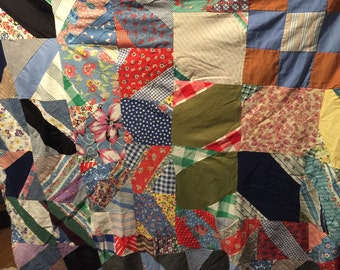 Hand stitched quilt top