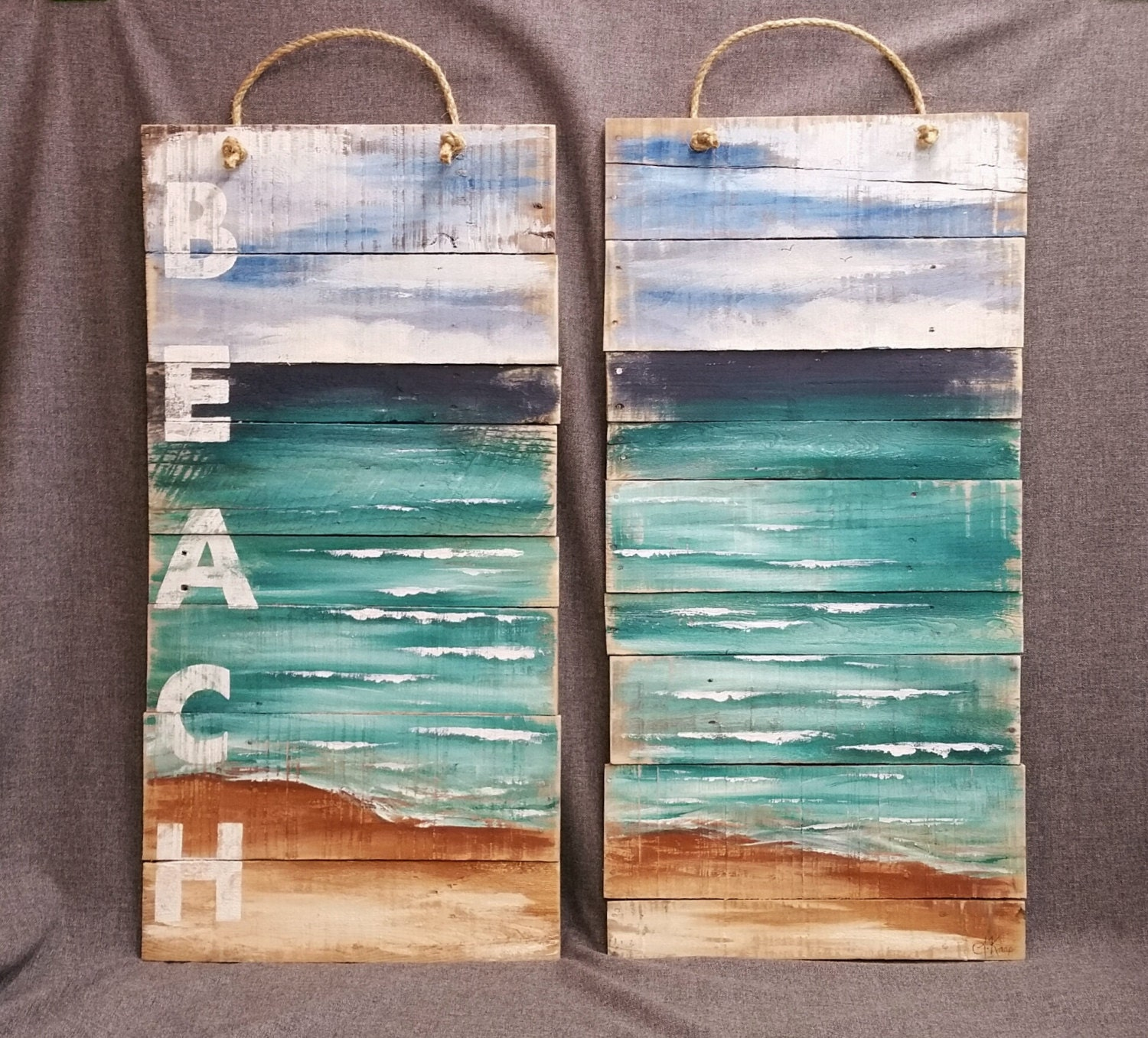 Wall Art With Pallets: Pallet Beach Wall Art LARGE Distressed By TheWhiteBirchStudio