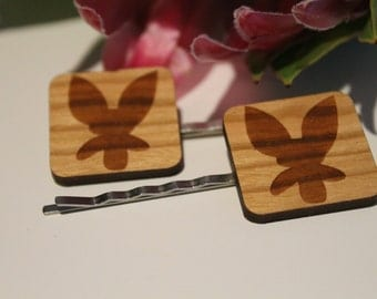Decorative Bobby Pins-Australian Bobby Pins-Hair Accessory-Hair Pin-Australian Wildflowers-Donkey Orchid-Wood Lasercut