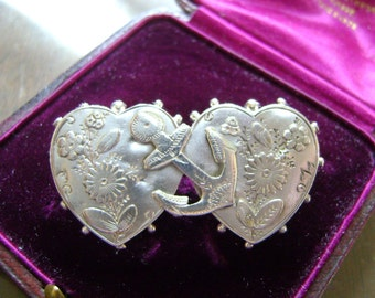 ANTIQUE VICTORIAN SILVER Sweetheart Hearts & Anchor Brooch - 1891