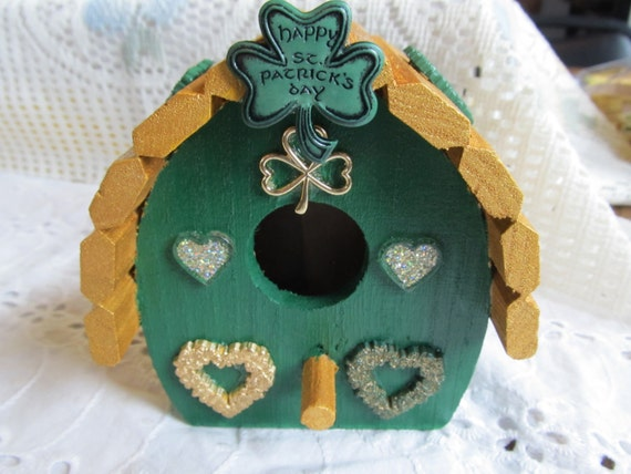 St Patrick Day Shamrock Unique Wood Birdhouse Decorative