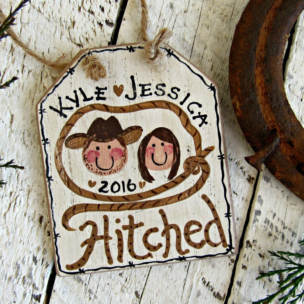 Cowboy Wedding Gifts: Just Hitched Ornament Western Wedding Gift Personalized