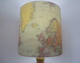 DRUM LAMPSHADE - Fathers Day - Study - Vintage world map paper shade