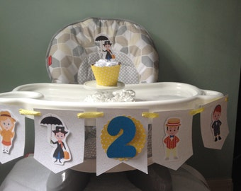 Mary Poppins 1st or 2nd Birthday Party Highchair Banner