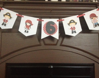 Boy and Girl Pirate Birthday Party Mini Banner