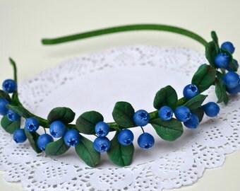 FREE EARRINGS! Blueberry headband. Blueberry hair crown. Blueberry stud earrings. Blueberry jewelry. Berry jewelry. Rustic jewelry