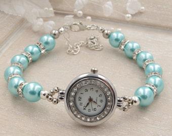 Turquoise Pearl Bracelet Watch Beaded Bracelet Watch Bridal Turquoise  Bracelet Wedding Jewelry Pearl Watch Ladies Watch Womens Watch Gift
