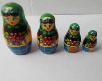 Vintage Hand Made Wooden Russian Nesting Dolls